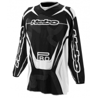 CAMISETA ENDURO/CROSS Y TRIAL COLOR NEGRO Y BLANCO CON DETALLES GRIS HEBO
