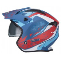 CASCO TRIAL CON GAFAS UNIK CT-07 ARTIC AZUL / BLANCO / ROJO